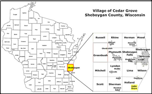 Village of Cedar Grove & Sheboygan County Map